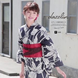即納!【ブランド「dazzlin」(ダズリン)浴衣3点セット】紺/ネイビー/白/金魚/よろけ縞/綿/フリー