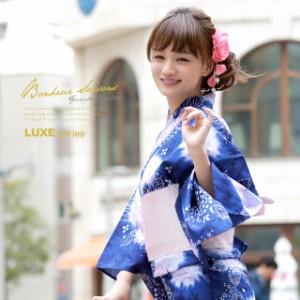 即納!【bonheur saisonsの浴衣3点セット】青/紫陽花/花/ラメ/綿/浴衣セット/ボヌールセゾン