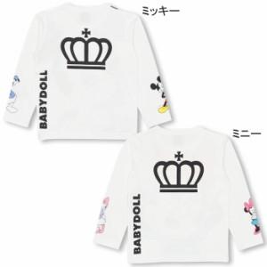 9/8NEW♪親子ペア★ディズニー BIGフェイスロンT-ベビーサイズ キッズ ベビードール 子供服/DISNEY-9924K