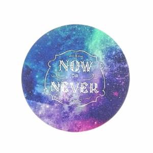 青&紫系グラデ/星空&メッセージ柄缶バッジ