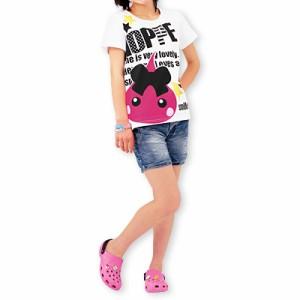 【32%OFF】ホワイト/英字ロゴ入りほっぺちゃんTシャツ/130cm