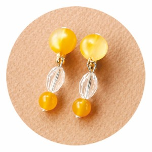 黄透明/丸ビーズのデコラティブイヤリング