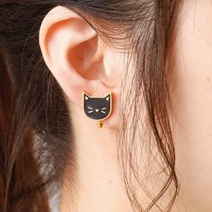 金色/黒猫フェイスのイヤリング