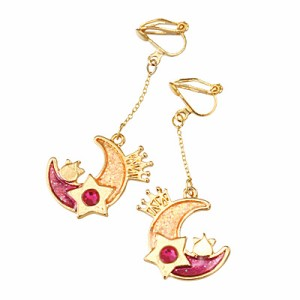 金色/紫桃グラデほっぺちゃん乗り月のイヤリング