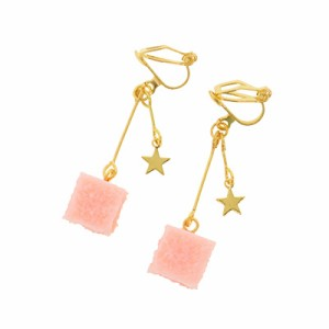 ピンク/星付き角砂糖風イヤリング
