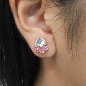 ピンク&クリア/ストーンつきイヤリング