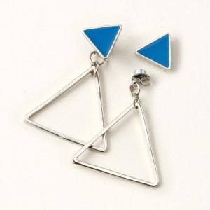 青/フレーム三角形がゆれるマグネットピアス