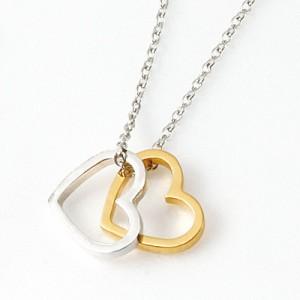 銀&金/ダブルハートのネックレス