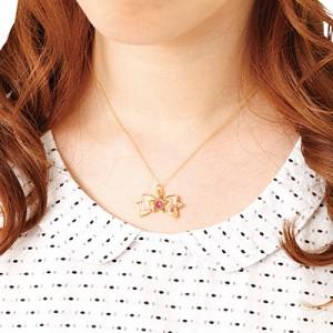 金色/紫桃グラデ星とリボンのネックレス