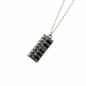 銀/鍵盤プレートのネックレス