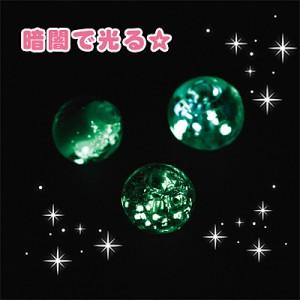 白&ピンク&水色/夜光ガラスビーズ3個セット