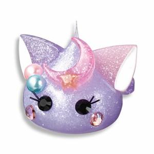 ラメ紫パール/月のせネコ耳ほっぺちゃんオブジェ
