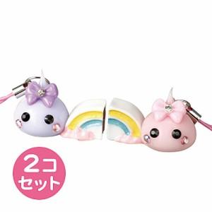 ピンク×紫/虹持ちほっぺちゃんストラップ2個売