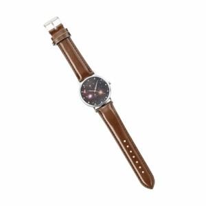 茶ベルト/銀縁黒地に宇宙柄腕時計