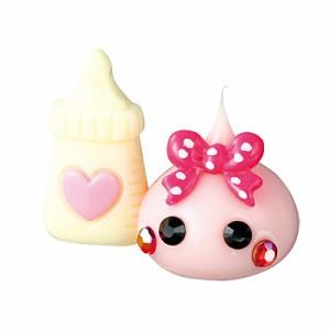 桃/白の哺乳瓶もちベビーほっぺちゃんオブジェ