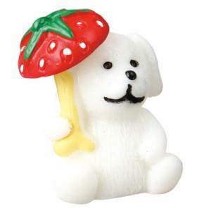 いちご傘もち白犬のオブジェ