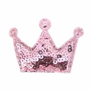 ピンク/スパンコールの王冠ヘアクリップ