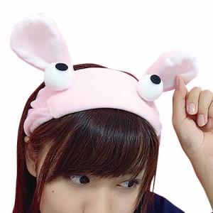 ピンク/ウサギのモコモコヘアバンド