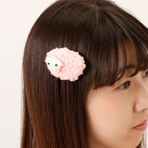 ピンク/モコモコひつじのヘアクリップ