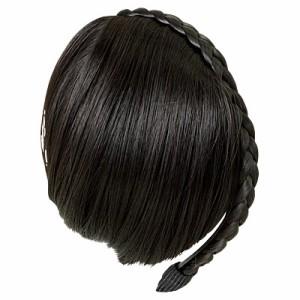 【69%OFF】黒/前髪ウィッグつき三つ編みカチューシャ