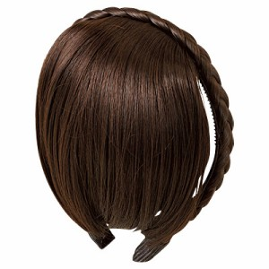 【69%OFF】こげ茶/前髪ウィッグつき三つ編みカチューシャ