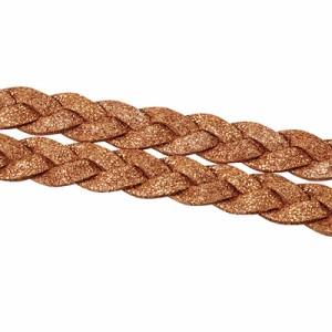【44%OFF】ラメ入り茶色革ヒモ風2連三つ編みヘアバンド