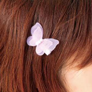 蝶のシフォンヘアクリップ/1個売り