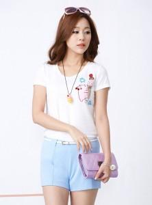 ガーベラレディース 韓国風 肌に優しい ストレッチ性 丸首 半袖 Tシャツ mb12202-2