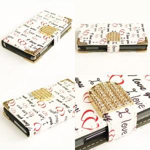全機種対応 ゆうパケ送料無料 手帳型スマホケース iPhoneXsmax SOV38 SO-04K SOV37 ハート・LOVE(白・赤) tuk011