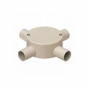 未来工業 露出用丸型ボックス 平蓋 4方出 適合管:VE28 ミルキーホワイト PVM28-4M