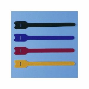 サンワサプライ ケーブルタイ(面ファスナー) ガイド穴タイプ Lサイズ 4色(ブラック・ブルー・レッド・イエロー)セット CA-MF3SETN