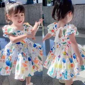ワンピース キッズ 女の子 膝丈ワンピース 韓国子供服 ワンピース ロング丈 夏 子供ワンピース 子供ドレス ジュニア 可愛い おしゃれ
