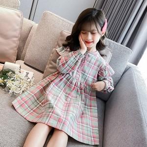ワンピース キッズ 女の子 長袖ワンピース 韓国子供服 チェックワンピース ロング丈 夏 子供ワンピース 子供ドレス ジュニア 可愛い おし