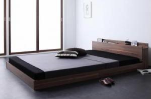 シングルベッド 棚付 マットレス付き ウォルナットブラウン 茶