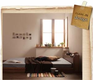 シングルベッド 棚付 マットレス付き オークホワイト 白
