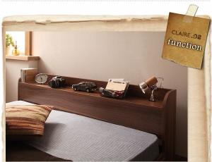 セミダブルベッド 棚付 マットレス付き オークホワイト 白