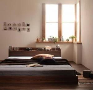 送料無料 棚・コンセント付きフロアベッド ボンネルコイルマットレスレギュラー付き ウォルナットブラウンブラック シングルベッド 茶
