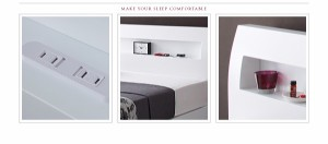 送料無料 棚・コンセント付きデザインすのこベッド ボンネルコイルマットレスレギュラー付き ホワイトアイボリー シングルベッド 乳白