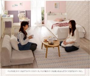 送料無料 棚・コンセント付き収納ベッド ポケットコイルマットレスレギュラー付き ショート丈S-ホワイトモカブラウン 白 茶