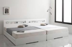 ダブルベッド 棚付 マットレス付き ホワイト 白
