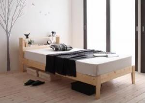 送料無料 北欧デザインコンセント付きすのこベッド ポケットコイルマットレスレギュラー付き ナチュラルアイボリー シングルベッド 乳