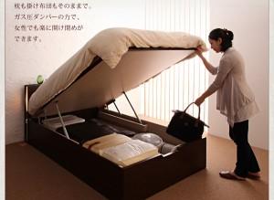 送料無料 開閉タイプが選べるガス圧式跳ね上げ大容量収納ベッド オリジナルポケットコイルマットレス付き ダークブラウン セミダブル