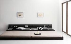ワイドキングサイズベッドK180 棚付 マットレス付き ホワイト 白