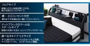 送料無料 棚・コンセント付きスチールフロアベッド ポケットコイルマットレスレギュラー付き ブラックブラック 黒