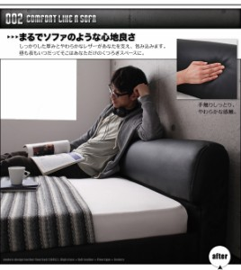 送料無料 モダンデザインレザーフロアベッド ポケットコイルマットレスレギュラー付き レッドブラック シングルベッド 黒