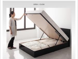 送料無料 ガス圧式跳ね上げ 鏡面仕上げ収納ベッド ポケットコイルマットレスレギュラー付き ホワイト セミシングルベッド 白