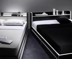 ダブルベッド 棚付 マットレス付き 白×ブラック 黒エッジ