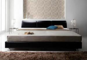 クイーンサイズベッド(Q×1) マットレス付き ブラック 黒