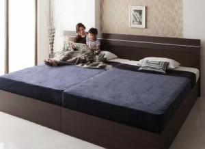 送料無料 家族で寝られるホテル風モダンデザインベッド ポケットコイルマットレス付き ダークブラウン 茶
