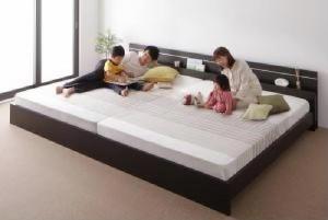 送料無料 親子で寝られる・将来分割できる連結ベッド ポケットコイルマットレス付き ホワイト 白